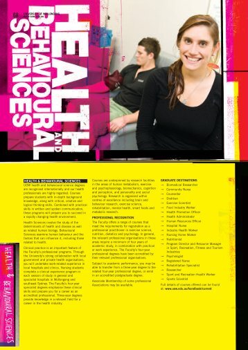 HEALTH & BEHAVIOURAL SCIENCES - University of Wollongong