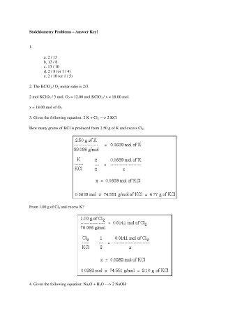 Stoichiometry Worksheet b. How many grams of NaF form when ...