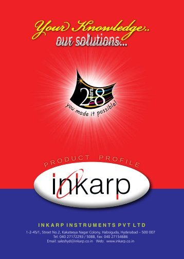 our solutions... - Inkarp Instruments Pvt. Ltd