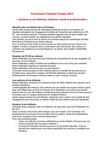 Contribution Fédérale Finistère 2012 « Soutenir la vie militante ...