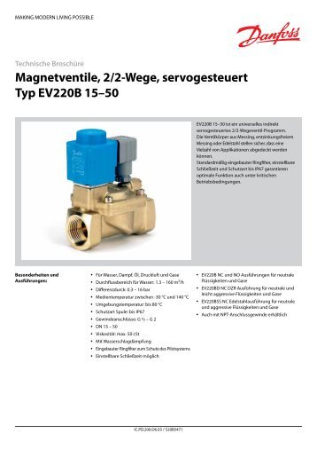 Magnetventile, 2/2-Wege, servogesteuert Typ EV220B 15–50