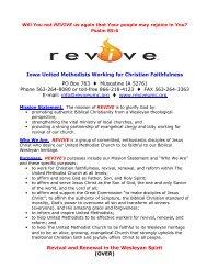 Iowa United Methodists Working for Christian Faithfulness ... - REVIVE