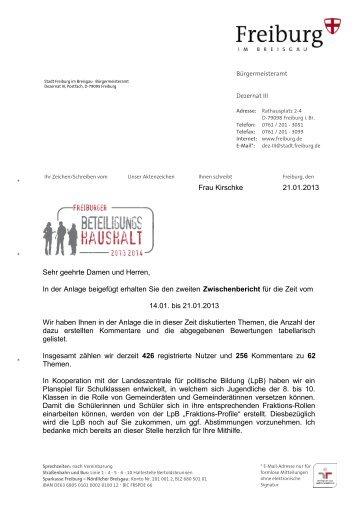 2. Zwischenbericht vom 21. Januar 2013 - Beteiligungshaushalt ...