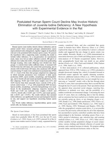 Postulated Human Sperm Count Decline May Involve Historic ...