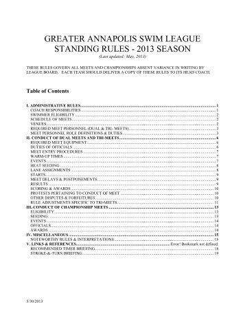 GASL Standing Rules 2013 - Indian Landing Boat Club