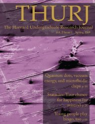 Vol. 2 Issue 1 (Spring 2009) - The Harvard Undergraduate Research ...