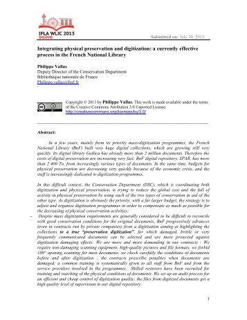 Integrating physical preservation and digitization: a ... - IFLA Library