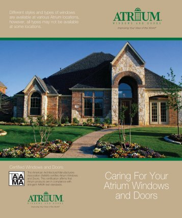 Care & Maintenance Manual - Atrium Windows and Doors
