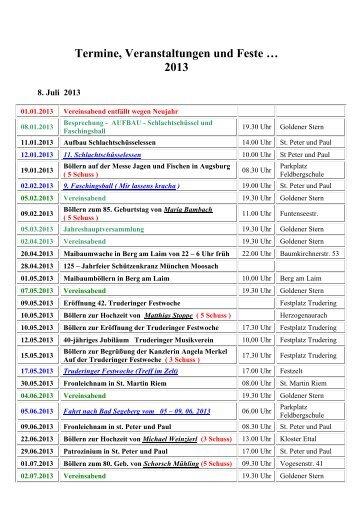 Termine, Veranstaltungen und Feste … 2013