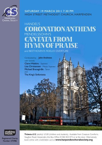 Coronation anthems Cantata from hymn of Praise - Harpenden ...