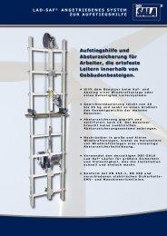 Aufstiegshilfe und Absturzsicherung für Arbeiter, die ortsfeste Leitern ...