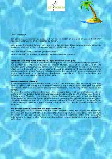 """Mitarbeit an Newsletter August 2013 über """"Reisekrankheiten"""""""
