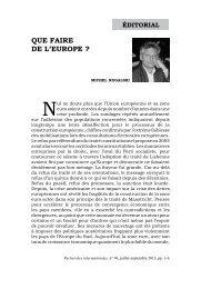 QUe FAIRe De L'eUROPe ? - Recherches internationales