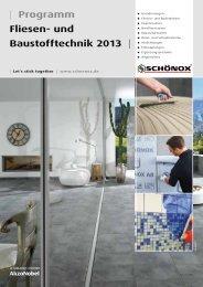 | Programm Fliesen- und Baustofftechnik 2013 | - Schönox