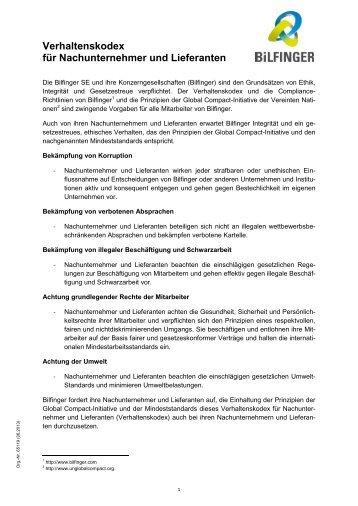 Verhaltenskodex für Nachunternehmer und Lieferanten - Bilfinger