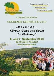 SOODENER GESPRÄCHE 2013 - Sonnenberg-Klinik