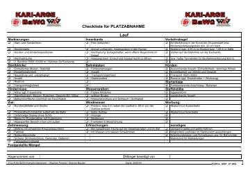 Checkliste PLATZABNAHME