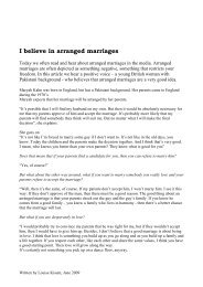 I believe in arranged marriages