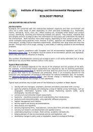 Ecologist job profile (PDF - 83.3KB) - University of Birmingham