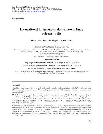 Intermittent intravenous clodronate in knee osteoarthritis - wjmms