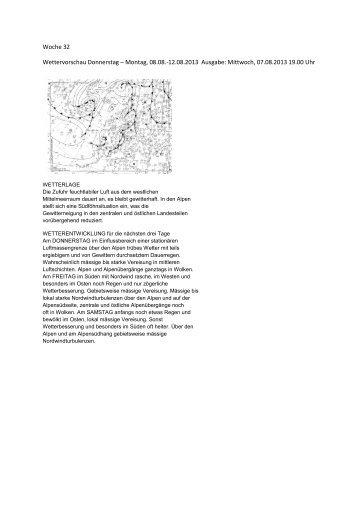 Woche 32 Wettervorschau Donnerstag – Montag, 08.08.-12.08.2013 ...