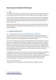 Data Analysis in SharePoint Pilot Report
