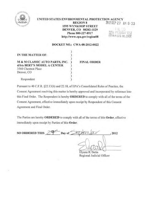 combined complaint, consent agreement and final order