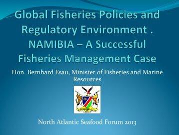 Hon. Bernhard Esau, Minister of Fisheries and Marine Resources