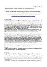 Artikel in der Zeitschrift Sprechstunde von Dr. Roland Glinz