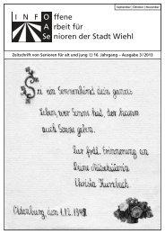 OASe - Zeitschrift von Senioren für Alt und Jung - Nr. 3 ... - Stadt Wiehl