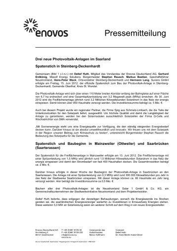 Drei neue Photovoltaik-Anlagen im Saarland Spatenstich ... - Enovos