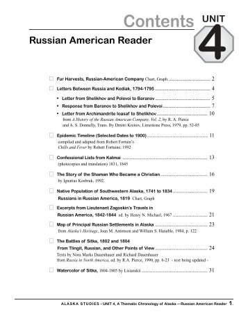 Russian American Reader - Alaska History and Cultural Studies