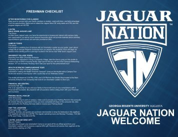 JAGUAR NATION WELCOME - Georgia Regents University