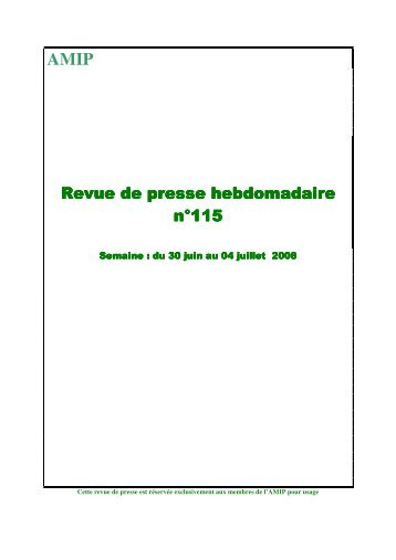 Revue N° 115 du 30/06/08 - AMIP