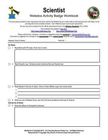 Webelos Badge Worksheet - Khayav