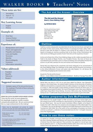 WALKER BOOKS E Teachers' Notes - Walker Books Australia