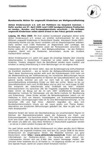 Bundesweite Aktion Für Ungewollt Kinderlose Am - Über uns