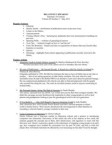 May 2012 - Alberta Genealogical Society
