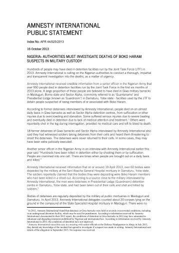 Public statement - Amnesty International Österreich