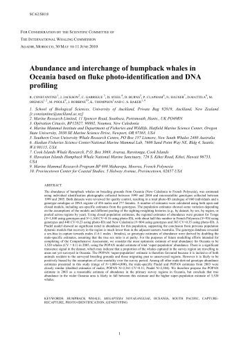 Abundance and interchange of humpback whales in Oceania based ...