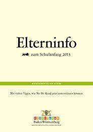 Elterninfo zum Schulanfang 2013 - Baden-Württemberg