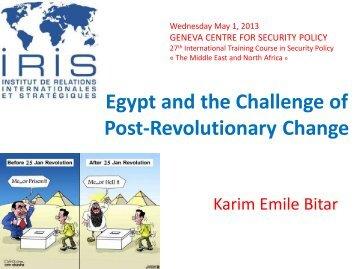 Egypt and the Challenge of Post-Revolutionary ... - Karimbitar.org