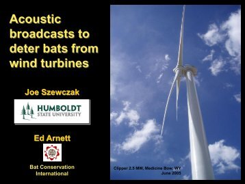 Using acoustic broadcasts to deter bats from wind turbines and ...