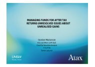 Managing funds for after tax returns - G Mackenzie - Australian ...