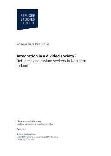 Refugees and asylum seekers in Northern Ireland - Refugee Studies ...