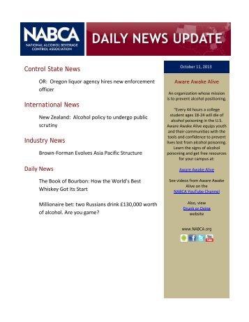 NABCA Daily News Update (10/10/13)
