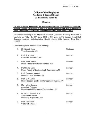 Minutes of Meetings - Jamia Millia Islamia