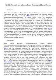 Kavitätsfotodetektoren mit einstellbarer Resonanz ... - nadirpoint.de