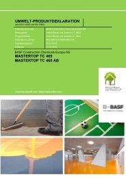 umwelt-produktdeklaration mastertop tc 465 mastertop tc 465 ab - Basf