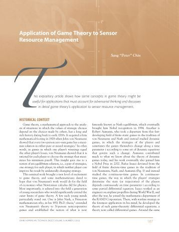 the application of game theory in How game theory helped improve new york city's  and alvin e roth (stanford), all experts in game theory and market design  the application.